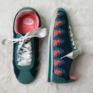 Poppy Teal & Orange Sneakers with Knit Accents 8